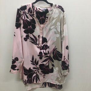 Peter Nygard LS Flower Pattern Tunic Length Top
